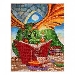 """Ткань с печатью для вышивки бисером """"Дракончик с книгой"""" Т-0581"""