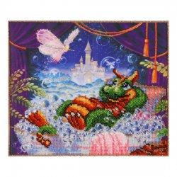 """Ткань с печатью для вышивки бисером """"Дракончик в ванной"""" Т-0582"""