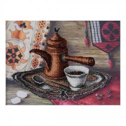 """Ткань с печатью для вышивки бисером """"Вкус кофе"""" Т-0595"""