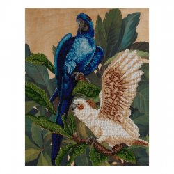 """Ткань с печатью для вышивки бисером """"Попугаи"""" Т-0614"""