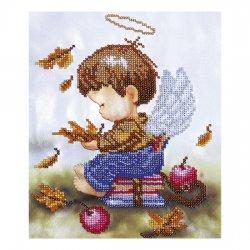 """Ткань с печатью для вышивки бисером """"Ангелочек школьник"""" Т-0534"""