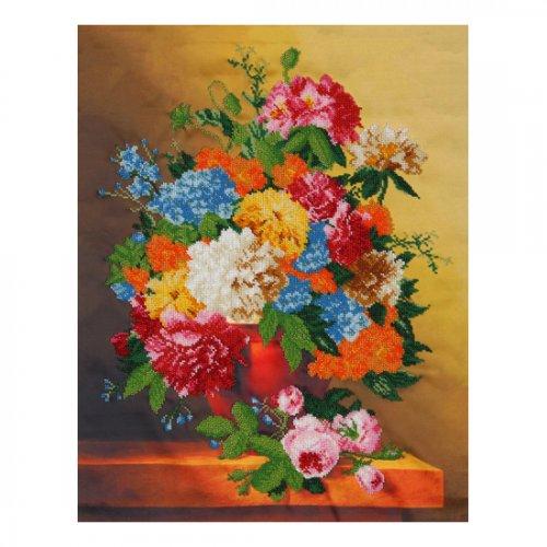 """Ткань с печатью для вышивки бисером """"Осенние цветы"""" Т-0573"""