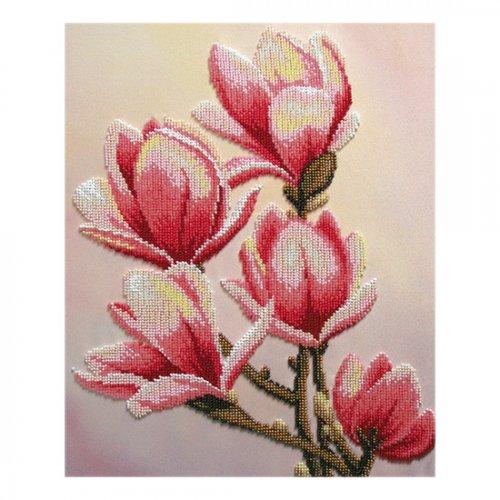 """Ткань с печатью для вышивки бисером """"Цветок магнолии"""" Т-0452"""