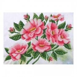 """Ткань с печатью для вышивки бисером """"Шиповник цветет"""" Т-0411"""