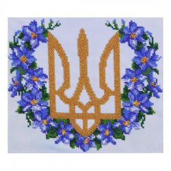 """Ткань с печатью для вышивки бисером """"Герб с барвинком"""" Т-0421"""
