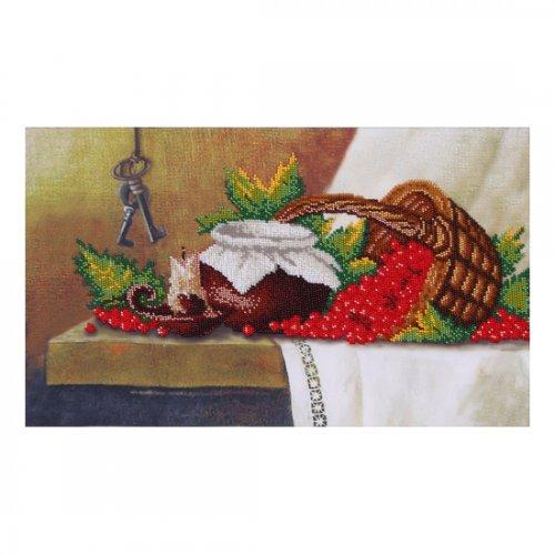 """Ткань с печатью для вышивки бисером """"Натюрморт с калиной"""" Т-0472"""