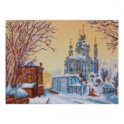 """Ткань с печатью для вышивки бисером """"Андреевский спуск зимой"""" Т-0466"""