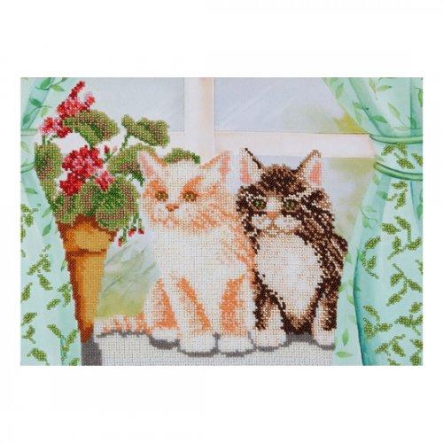 """Ткань с печатью для вышивки бисером """"Котики"""" Т-0427"""