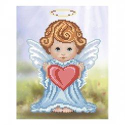 """Ткань с печатью для вышивки бисером """"Ангелочек с сердечком"""" Т-0407"""