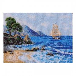 """Ткань с печатью для вышивки бисером """"Морской пейзаж"""" Т-0425"""