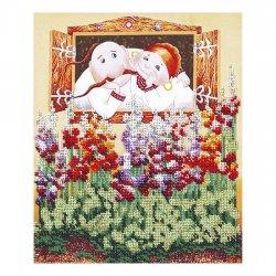 """Ткань с печатью для вышивки бисером """"Мальвы"""" Т-0550"""