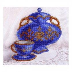 """Ткань с печатью для вышивки бисером """"Синий натюрморт"""" Т-0045"""