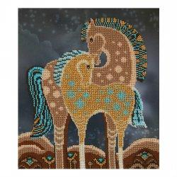 """Ткань с печатью для вышивки бисером """"Сказочные лошади"""" Т-0353"""