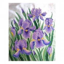 """Ткань с печатью для вышивки бисером """"Фиолетовые ирисы"""" Т-0342"""