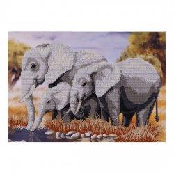 """Ткань с печатью для вышивки бисером """"Слоны"""" Т-0181"""