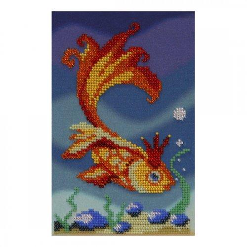 """Ткань с печатью для вышивки бисером """"Золотая рыбка"""" Т-0087"""