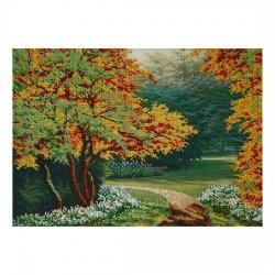 """Ткань с печатью для вышивки бисером """"Осенняя аллея"""" Т-0183"""