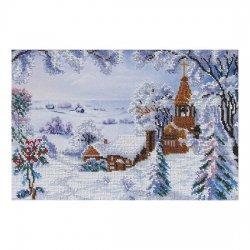 """Ткань с печатью для вышивки бисером """"Зимний пейзаж"""" Т-0184"""