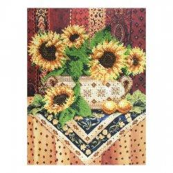 """Ткань с печатью для вышивки бисером """"Натюрморт с подсолнухами"""" Т-0047"""