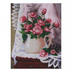 """Ткань с печатью для вышивки бисером """"Розы"""" Т-0059"""