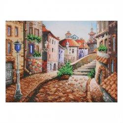 """Ткань с печатью для вышивки бисером """"Улочка старого города"""" Т-0062"""