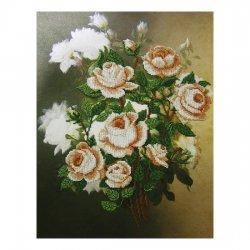 """Ткань с печатью для вышивки бисером """"Белые розы"""" Т-0188"""