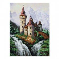"""Ткань с печатью для вышивки бисером """"Шум водопада"""" Т-0067"""