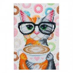 """Ткань с печатью для вышивки бисером """"Кофейная кошка"""" Т-0756"""
