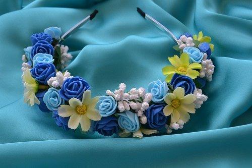 """Обруч """"Розы сине-голубые"""""""