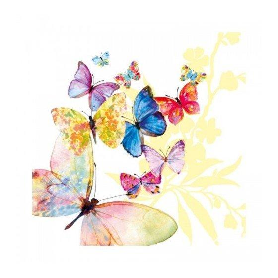 """Декупажные салфетки """"Бабочки"""", белые, 33*33 см, 18,5 г/м2, 20 шт, Abiente"""