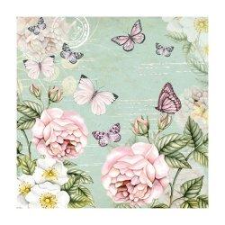 """Декупажные салфетки """"Цветы и бабочки"""", зеленые, 33*33 см, 18,5 г/м2, 20 шт, Abiente"""