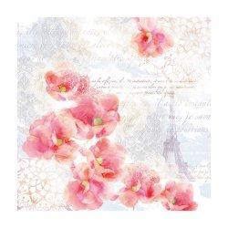 """Декупажные салфетки """"Цветы и Париж"""", 33*33 см, 18,5 г/м2, 20 шт, Abiente"""