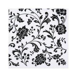 """Декупажные салфетки """"Орнамент цветы"""", черные, 33*33 см, 17,5 г/м2, 20 шт, ti-flair"""