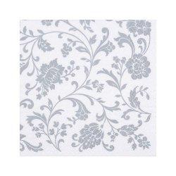 "Декупажные салфетки ""Орнамент цветы"", серебро, 33*33 см, 17,5 г/м2, 20 шт, ti-flair"